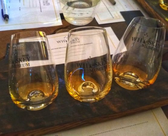 Three glasses with different kinds of whiskey on a wooden board
