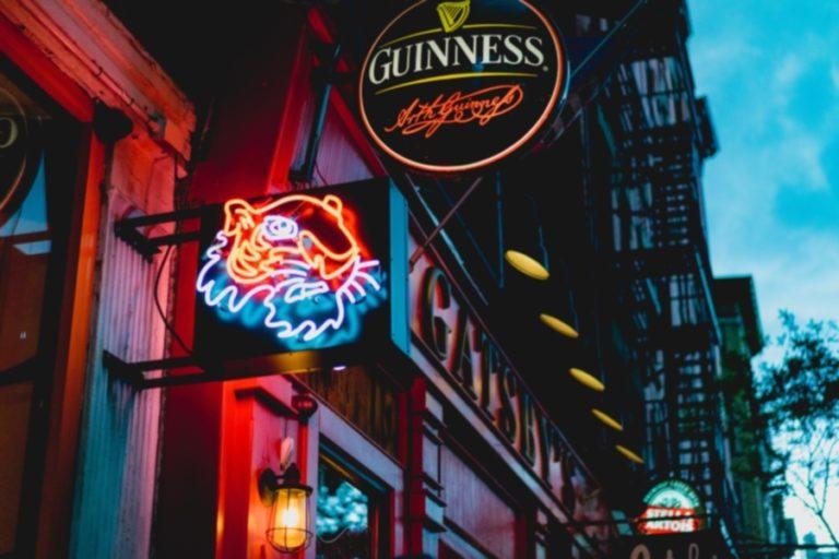neon sign of a pub