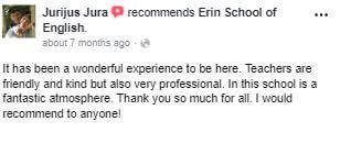 Ha sido una experiencia maravillosa estar aquí. Los profesores son amables y amables pero también muy profesionales. En esta escuela hay un ambiente fantástico. Muchas gracias por todo. ¡Yo recomendaría a cualquiera!